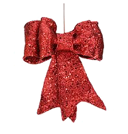 Red Glittered Bow LG 13 Inch