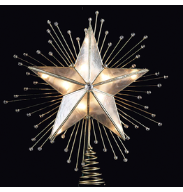 Kurt Adler Capiz Star Christmas Tree Topper 5 Point w Beaded Rays