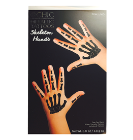 Twos Company Halloween Tattoos Gothic Glam Skeleton Hands SM Kids in Black