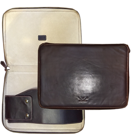 White Wing Label Leather Computer Case in Smoke