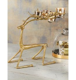 Mud Pie Sitting Gold Christmas Deer 4 Votive Holder 10x15 Inch
