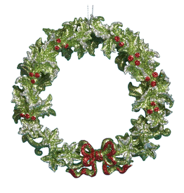 Kurt Adler Green Holly Wreath Christmas Tree Ornament 5 inch