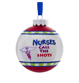 Kurt Adler Nurses Call The Shots Glass Ball Christmas Ornament
