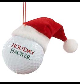 Kurt Adler Ornament Golf Ball w Santa Hat Holiday Hacker