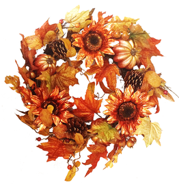 Darice Copper Metallic Sunflower Fall Wreath 24 inch DC-9331 Darice Fall Home