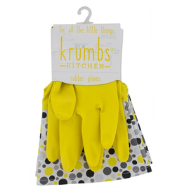 Designer Rubber Gloves Yellow With Dots Cuff