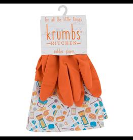 Designer Rubber Gloves Orange With Kitchen Gadgets Cuff