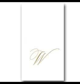 Caspari White Pearl Paper Linen Guest Napkins Initial W 24pk