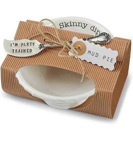 Mud Pie Circa Pedestal Dip Bowl W Spreader Set Skinny Dip