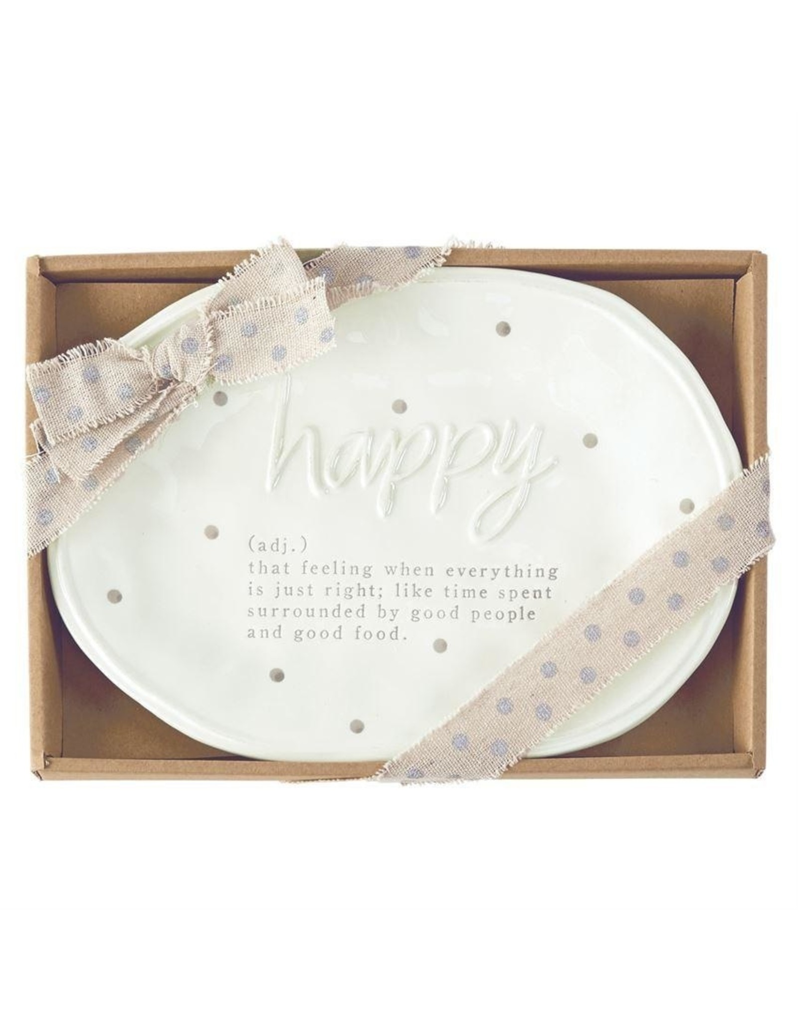 Mud Pie Happy Definition Plate Gift Boxed 10.5x7.5 inch