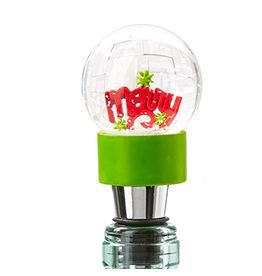 Twos Company Holiday Cheer Bottle Stopper Snow Snowglobe MERRY 80433-20-B