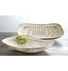 Mud Pie Carved Coupe Platters Set Of Large 2x13x10 And Small 2x11x9