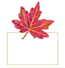 Caspari Place Cards Tent Style 8pk 85938P Fall Leaves Jeweled Autumn