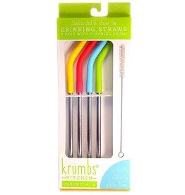 Reusable Stainless Steel Drinking Straws 4 Pack W Brush