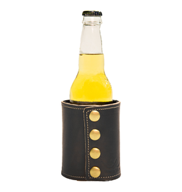 White Wing Label Leather Drink Coozie Bottle Size in Smoke