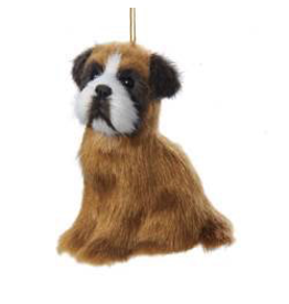 Kurt Adler Christmas Ornament Plush Dog Boxer 4 inch