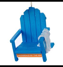 Digs Christmas Ornament LBTS Beach Chair w Towel Blue