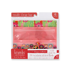 Reusable Storage Bags 6 Pack 2 Each SM-MD-LG Pink Dot