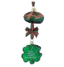 Kurt Adler Irish Paddy Cap n Shamrock Ornament w Sentiment - Lucky Enough