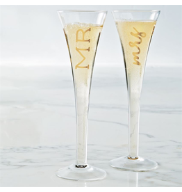 Mud Pie Mr And Mrs Champagne Glasses Set of 2 Champagne Flutes