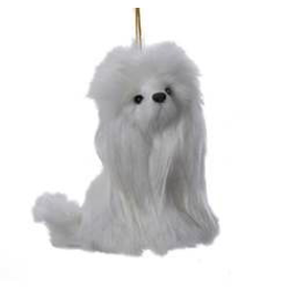 Kurt Adler Plush Poodle Dog Christmas Ornament 4 inches