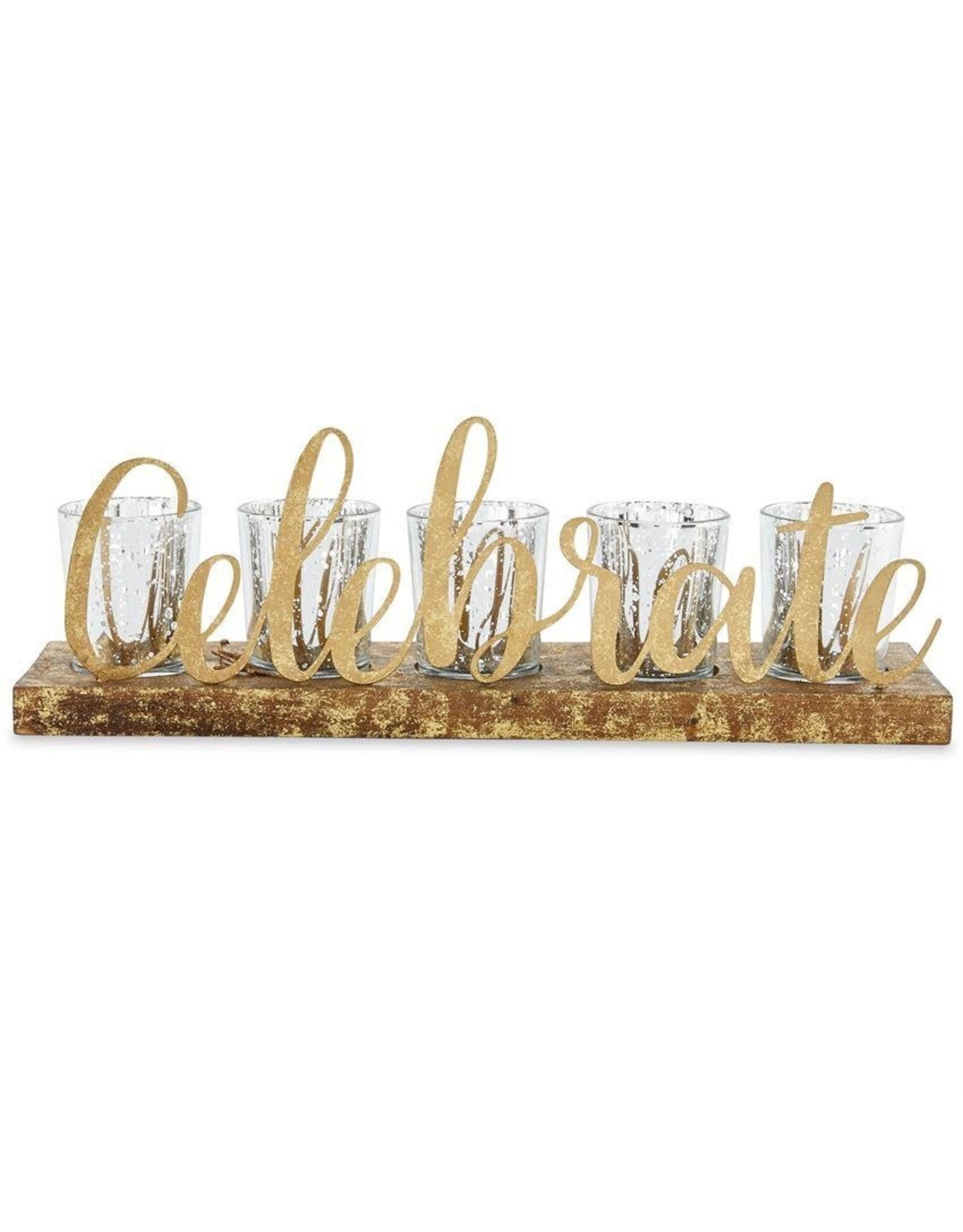 Mud Pie Gold Celebrate 5 Votive Holder 14x4.75x3.5 Inch