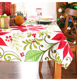Peking Handicraft Christmas Tablecloth Poinsettias 60x84