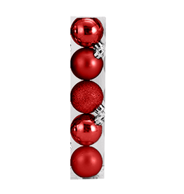 Kurt Adler Christmas Shatterproof Ball Ornament 60MM Set of 5 Red