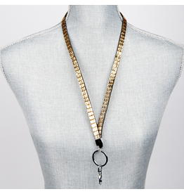 Jacqueline Kent Jewelry Crystal Bling Lanyard Champagne Gold