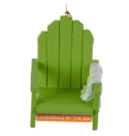 Digs Christmas Ornament LBTS Beach Chair w Towel Green