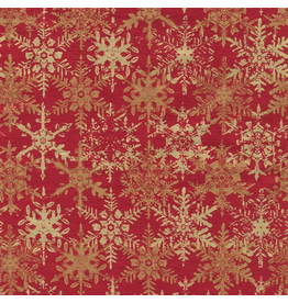 Caspari Christmas Wrapping Paper Roll 8ft Snowfall Red Foil