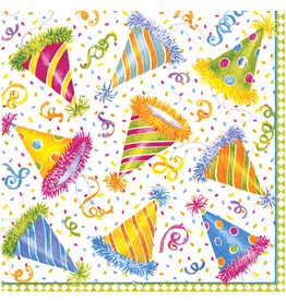 Caspari Paper Napkins 11140C Hats Off Birthday Party Cocktail Napkins