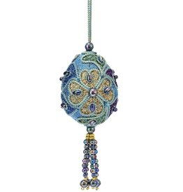 Kurt Adler Mini Peacock Egg Ornaments 3 inch Glitter W Beads -C