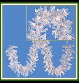 Kurt Adler Christmas Garland Pre-Lit Crystal White w Clear Lights Garland 9FT