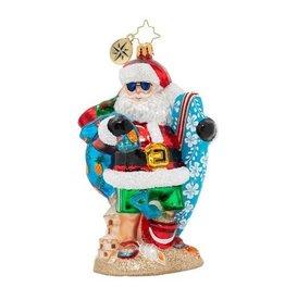 Christopher Radko Shredding The Gnar Beach Santa W Surf Board Ornament