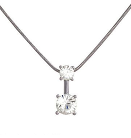 Annaleece Necklace Sweet Clear Rhodium Pendant with Clear Crystals