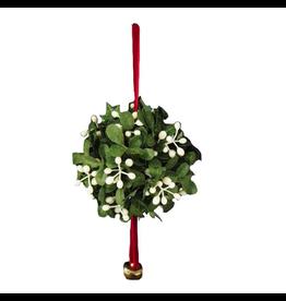 Kurt Adler Christmas Mistletoe Ball Ornament W Red Cord And Bell