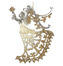 Kurt Adler Clear Acrylic Angel w Gold Glitter Ornament 5 inch -B Star