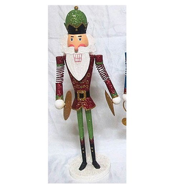 Kurt Adler Tin Nutcracker Band Player Tabletop Piece 15 Inch Red