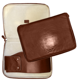 White Wing Label Leather Computer Case in Chestnut