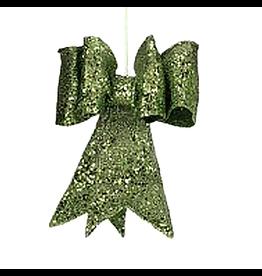 Mark Roberts Christmas Decorations Green Glitter Bow LG 13 inch