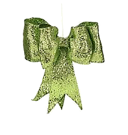 Mark Roberts Christmas Decorations Green Glitter Bow SM 8 inch