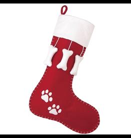 Peking Handicraft Pet Felt Christmas Stocking Dog Bones w Paw Prints