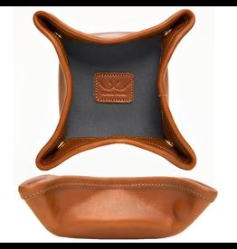 White Wing Label Leather n Canvas Desk Caddy Briquette Chestnut