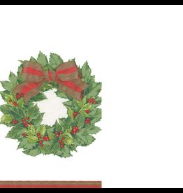 Caspari Paper Guest Napkins 15pk Christmas Holly Wreath