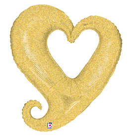 Burton and Burton Linky Metallic Heart Shaped Foil Balloon Oversized 37 inch Gold