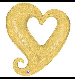 Burton and Burton Linky Metallic Heart Shaped Foil Balloon Oversized 37 inch Gold