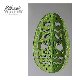 Katherine's Collection Easter Egg Ornament Glittered Laser Cut Green