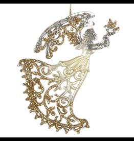 Kurt Adler Clear Acrylic Angel w Gold Glitter Ornament 5 inch -A Dove