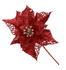 Kurt Adler Sparkle Glittered Poinsettia Christmas Picks 6.5 Inch RED